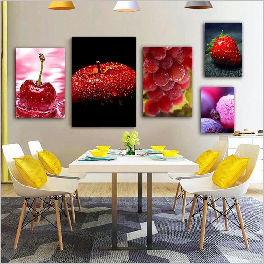 Fake Fruit In Frame Wall Decor Kitchen