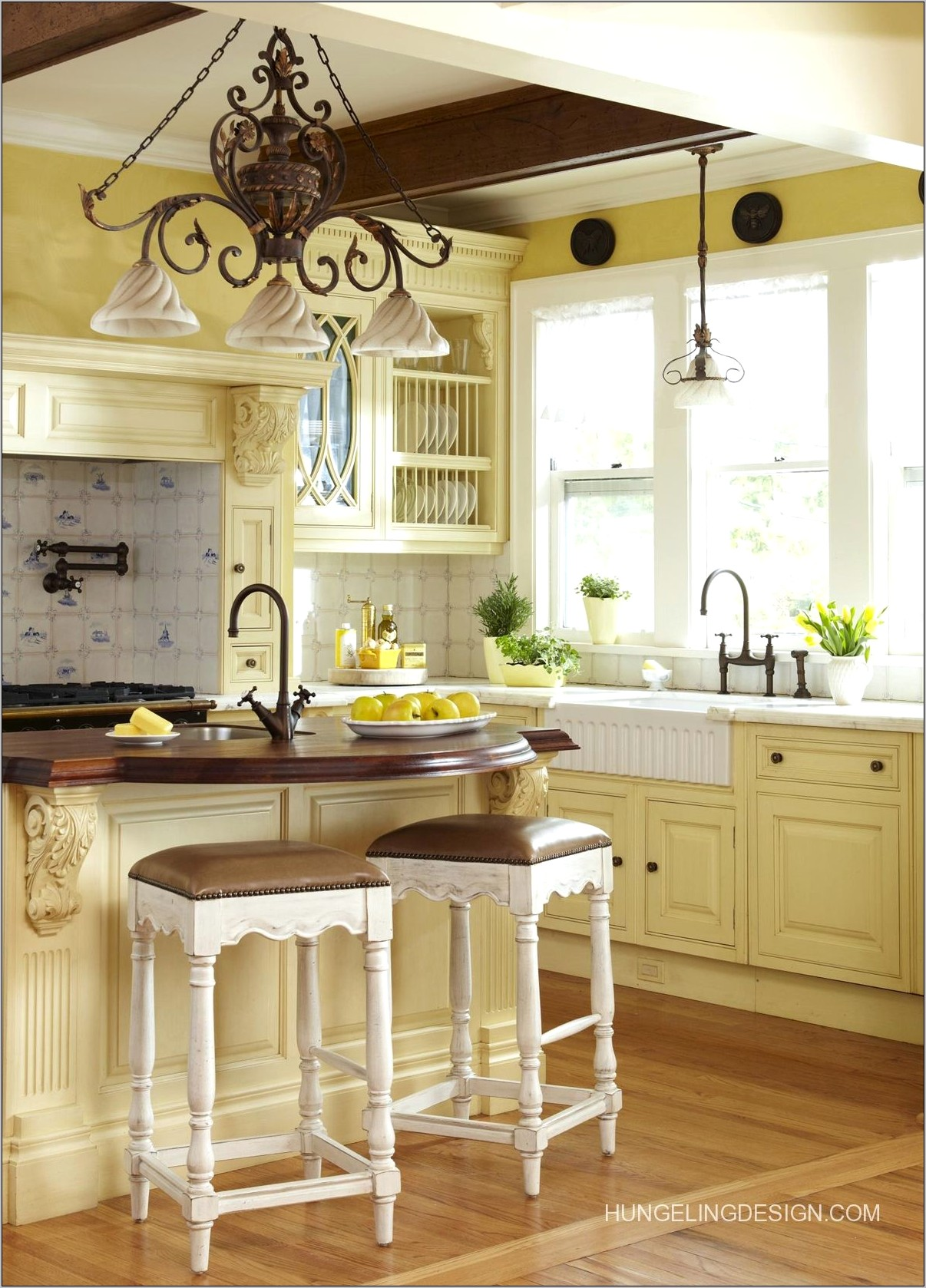 French Provincial Blue And Yellow Kitchen Decor