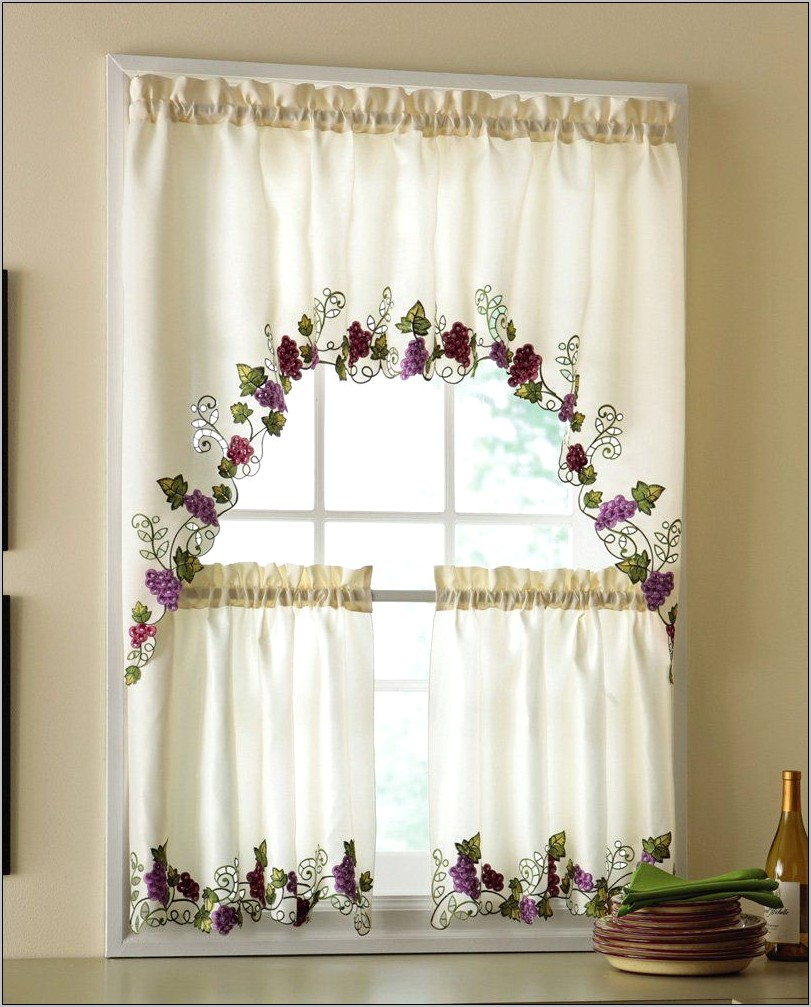 Grape Decor Kitchen Curtains