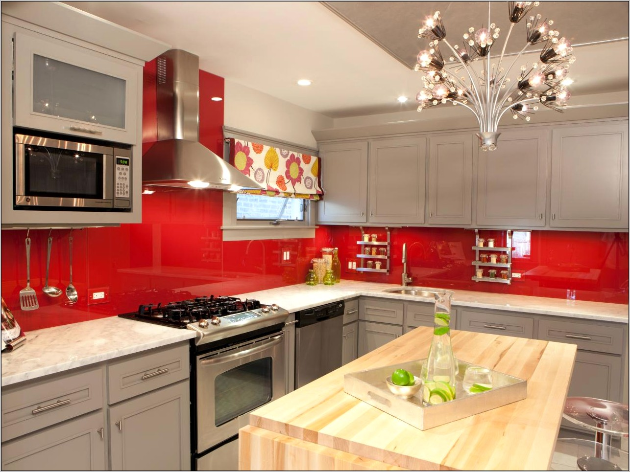 Grey And Red Kitchen Decor