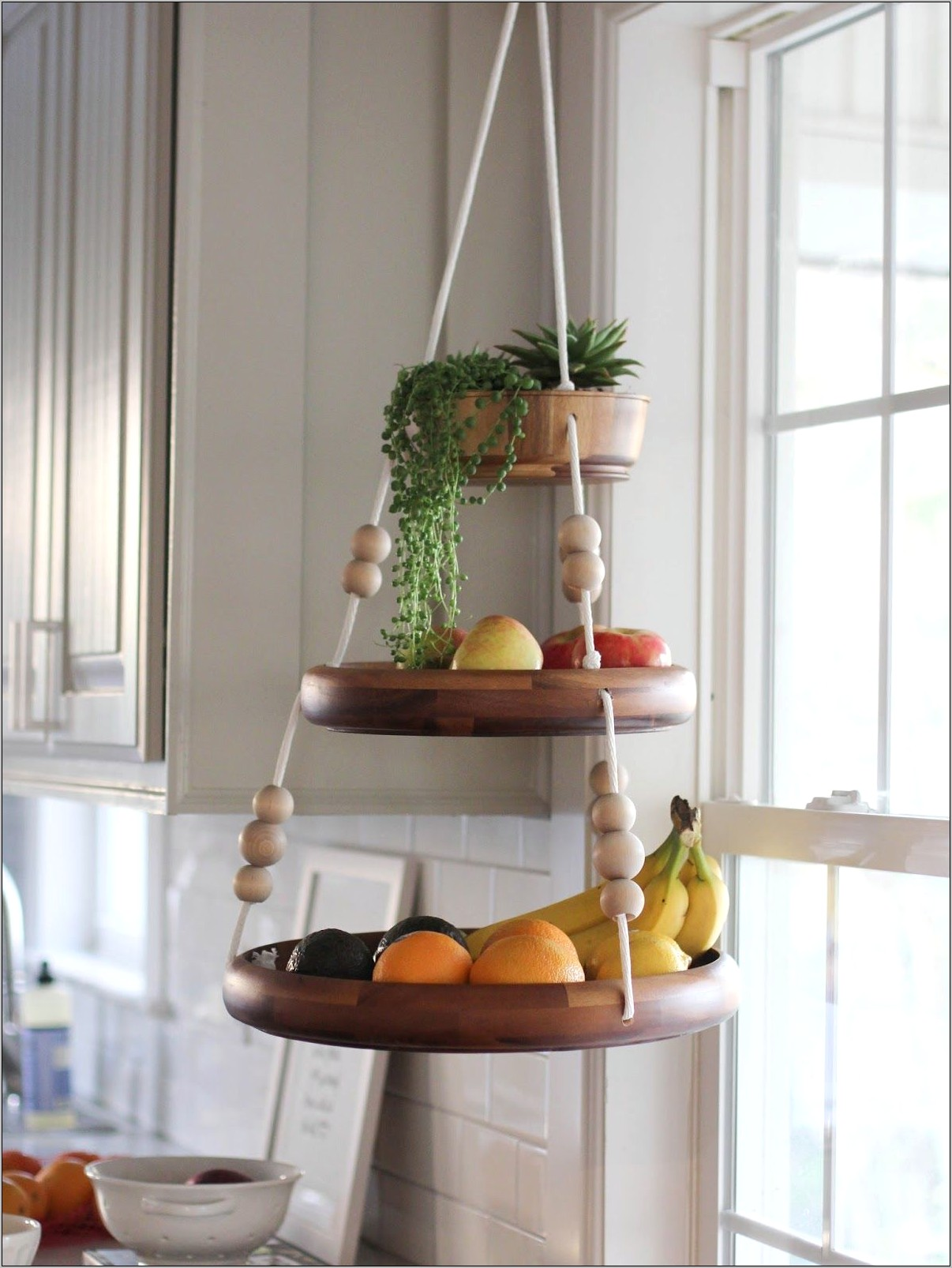 Interior Decoration Baskets Hanging In Kitchen