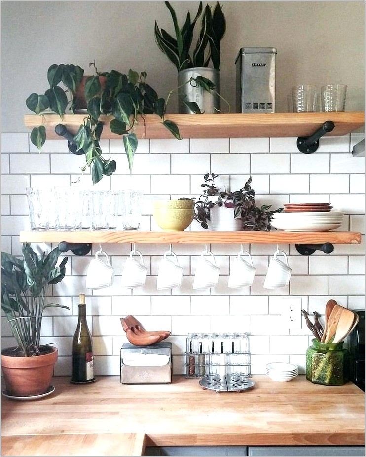 Kitchen Counter Decor Shelf Wood And Metal