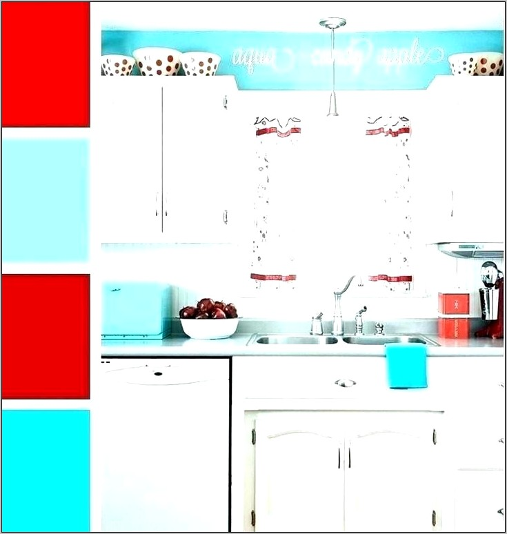 Kitchen Decor Red Teal