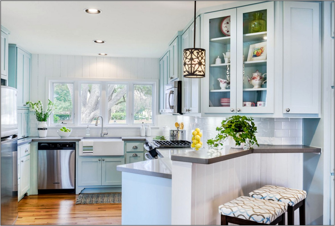 Kitchen Gray Walls Blue And White Decor