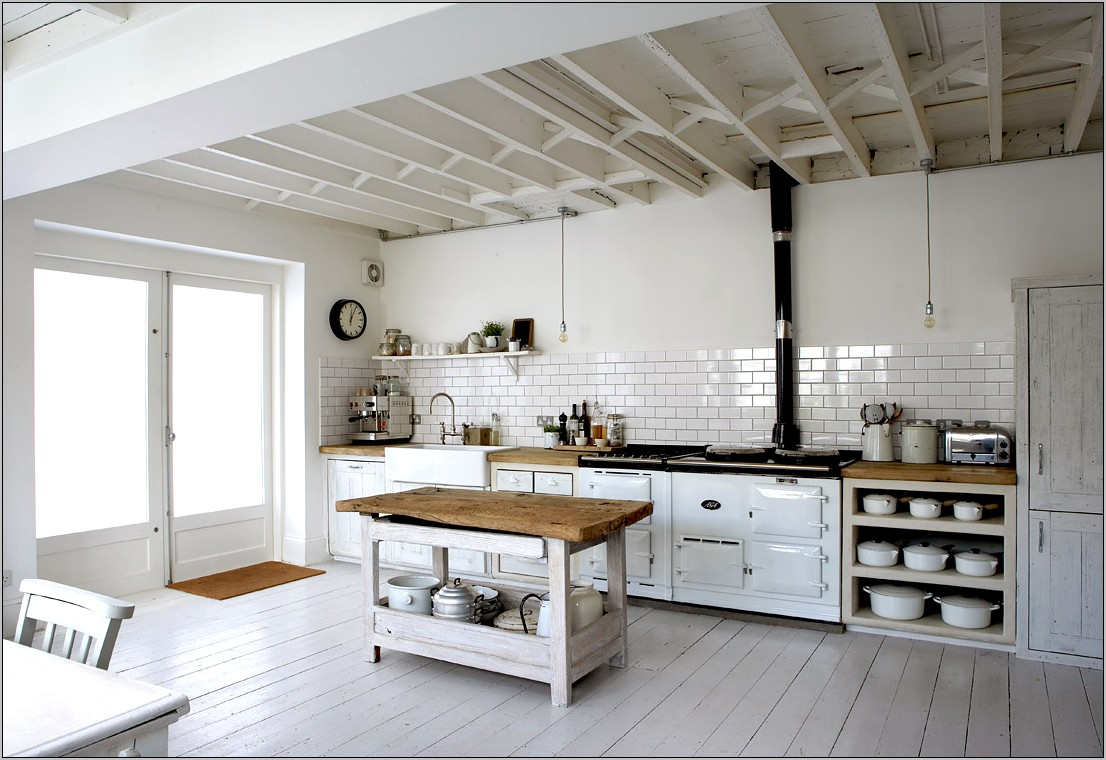 Kitchen White Wall Rustic Decor