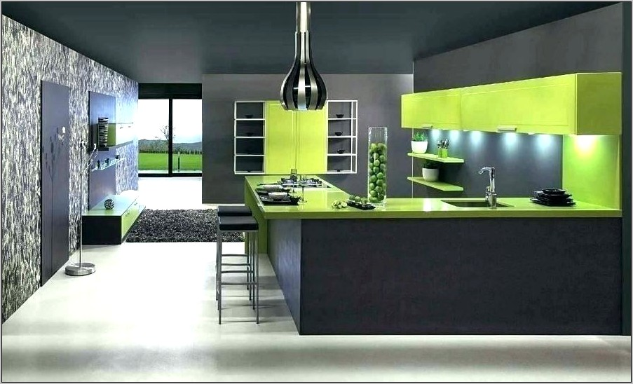 Lime Green Grey Kitchen Decor