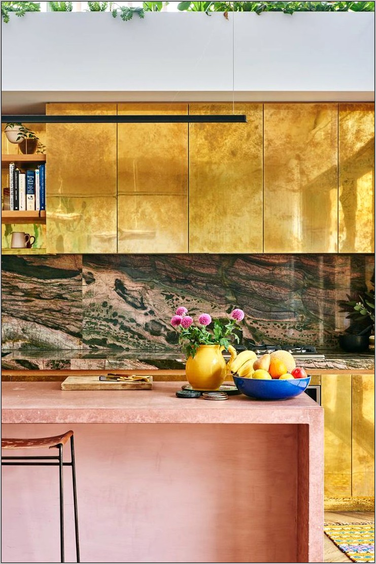 Metallic Kitchen Cabinets Elle Decor