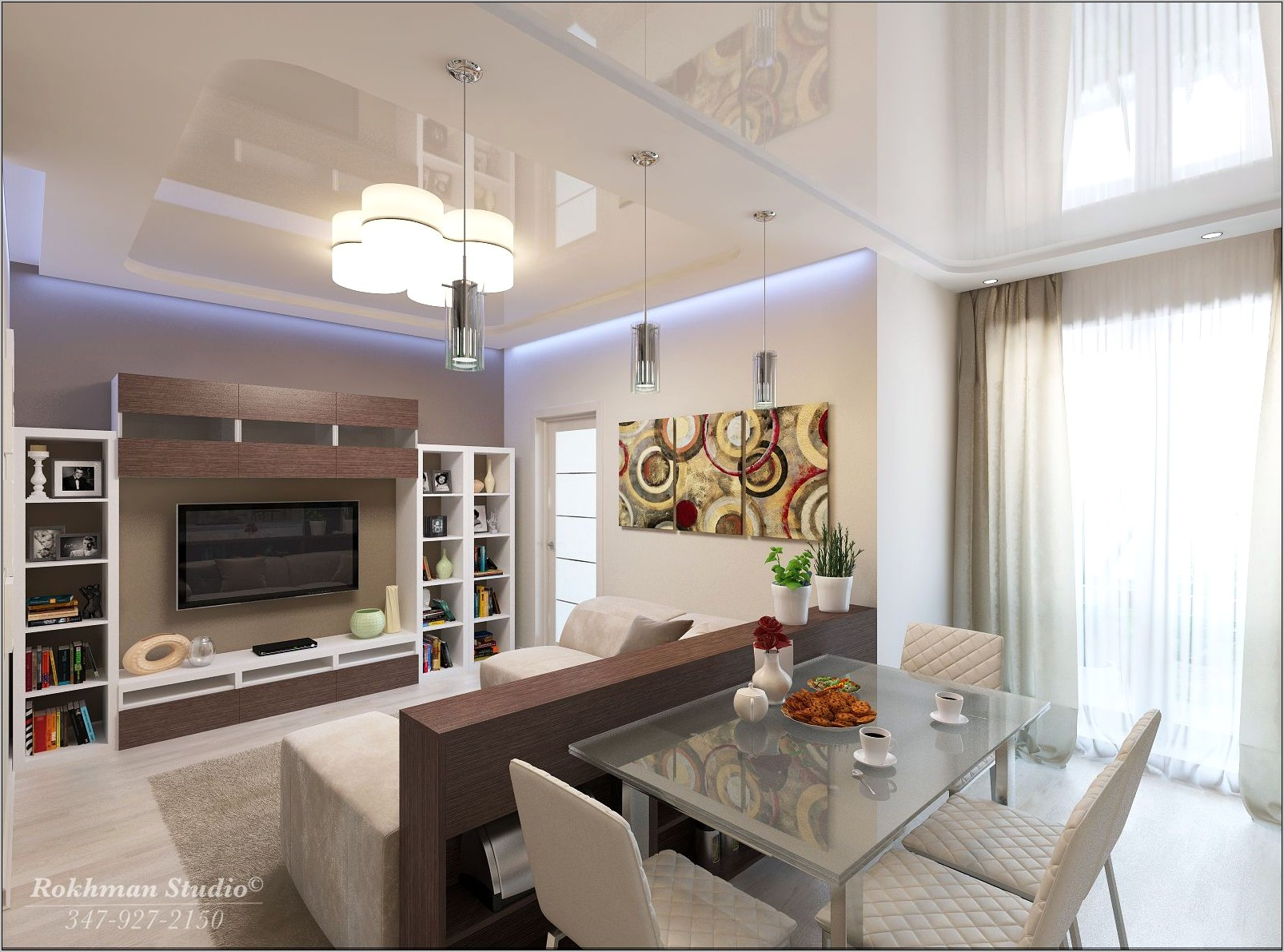 Narrow Apt Kitchen Dining Living Room Decorated