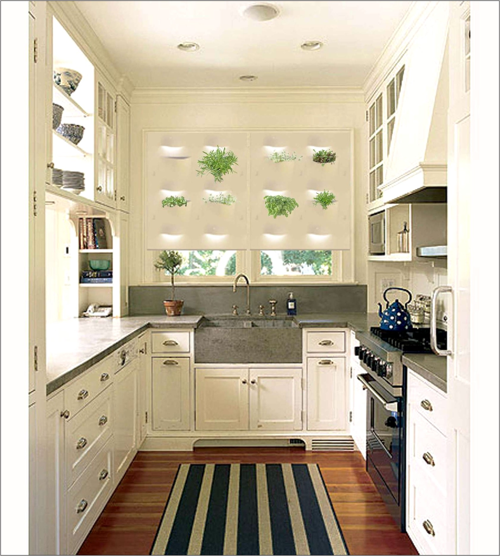 Narrow Enclosed Galley White Kitchen Decorating Ideas