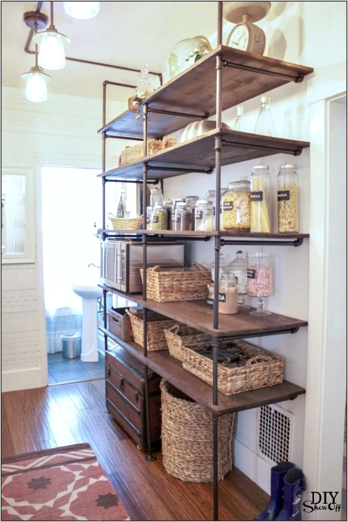Open Shelf Kitchen Decor Baskets