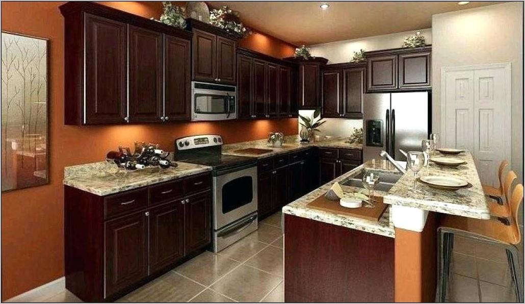 Orange Kitchen Decor With Dark Cabinets