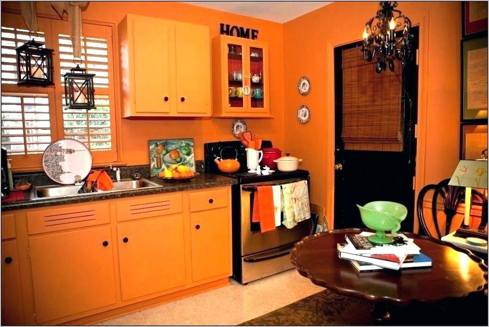 Orange Living Room And Kitchen Decorations