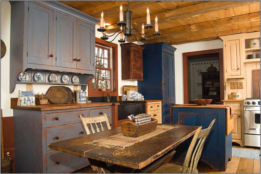Primitive Decor Above Kitchen Cabinets