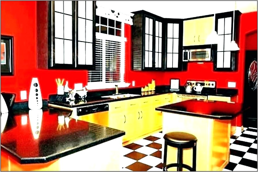 Red Black And White Kitchen Decor