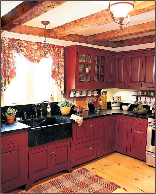 Rustic Red Kitchen Cabinets Primitive Decor