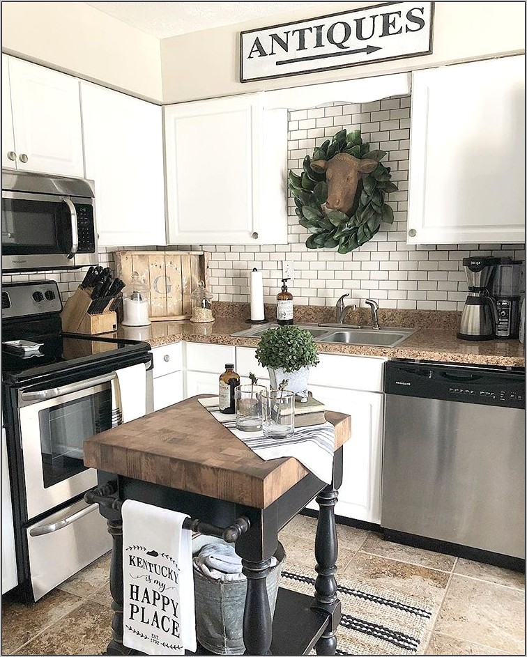Small Kitchen Corner With Rustic Farmhouse Decor
