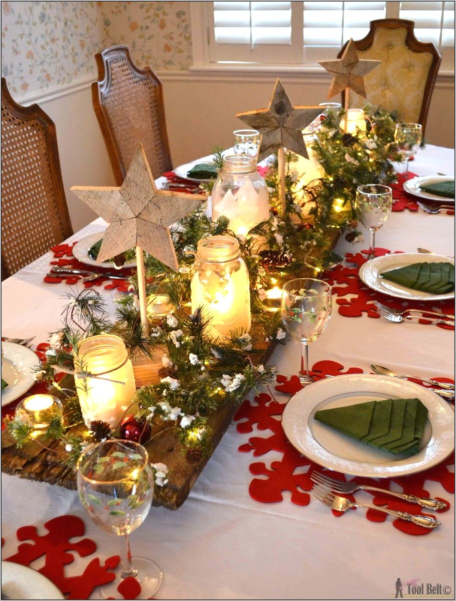Square Country Kitchen Table Decorated For Christmas