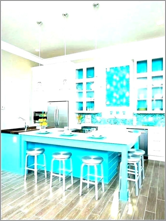 Teal Brown Kitchen Decor