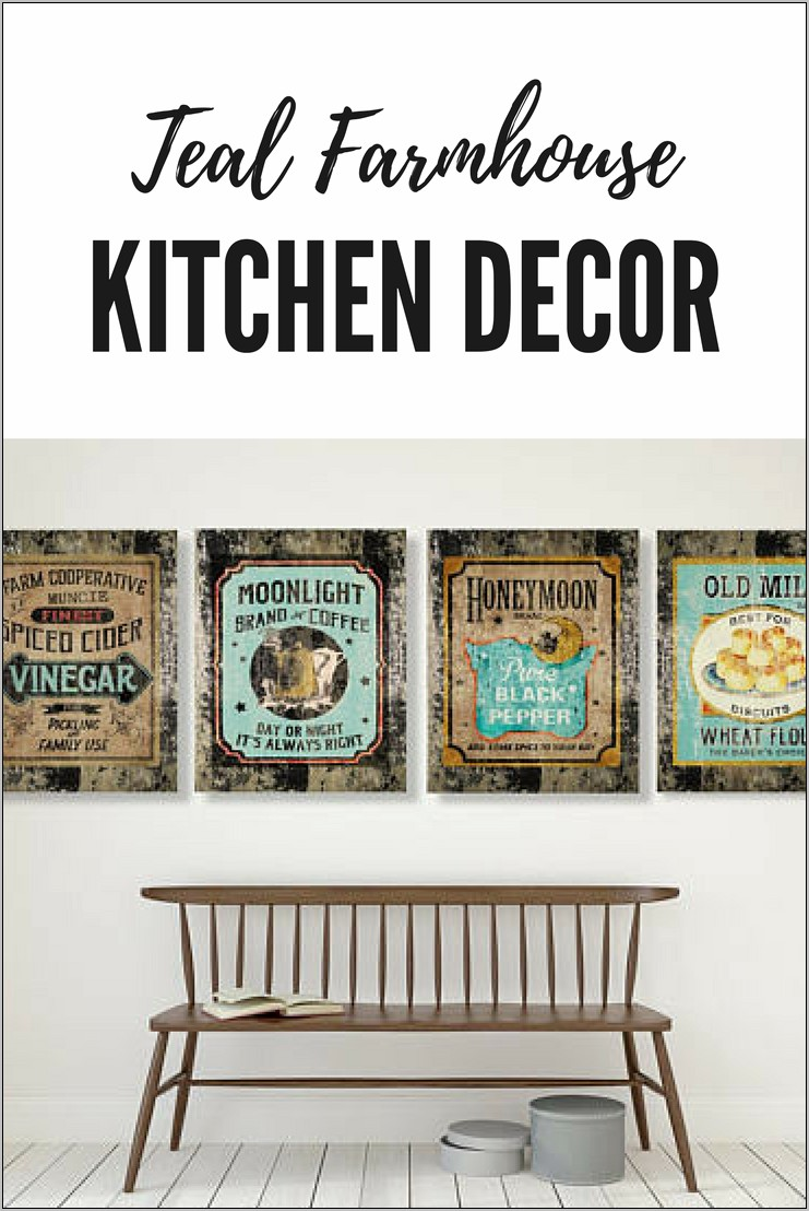Teal Farmhouse Kitchen Decor