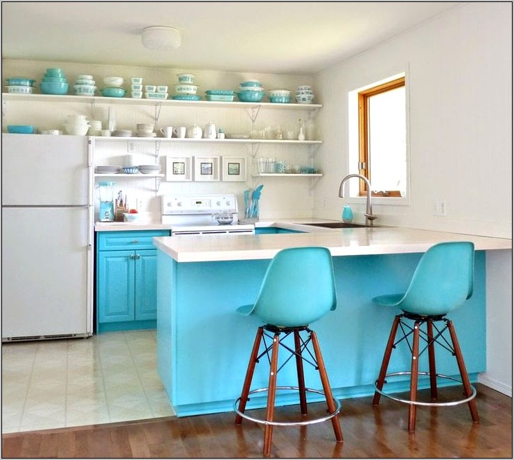 White And Turquoise Kitchen Decor
