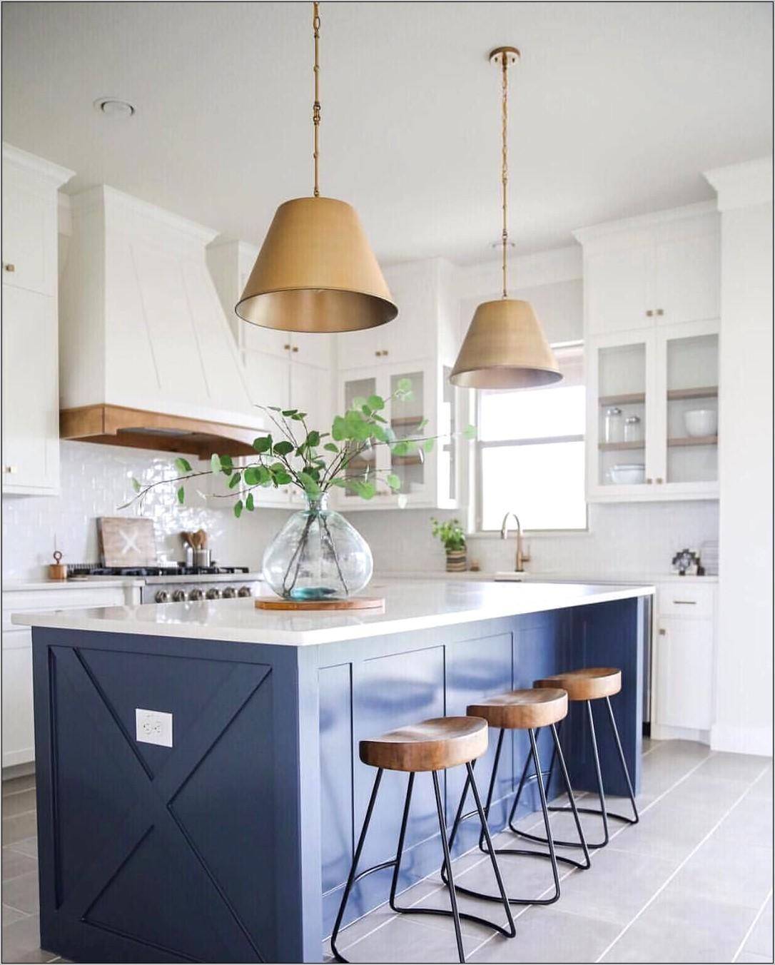 White Kitchen With Blue Decor