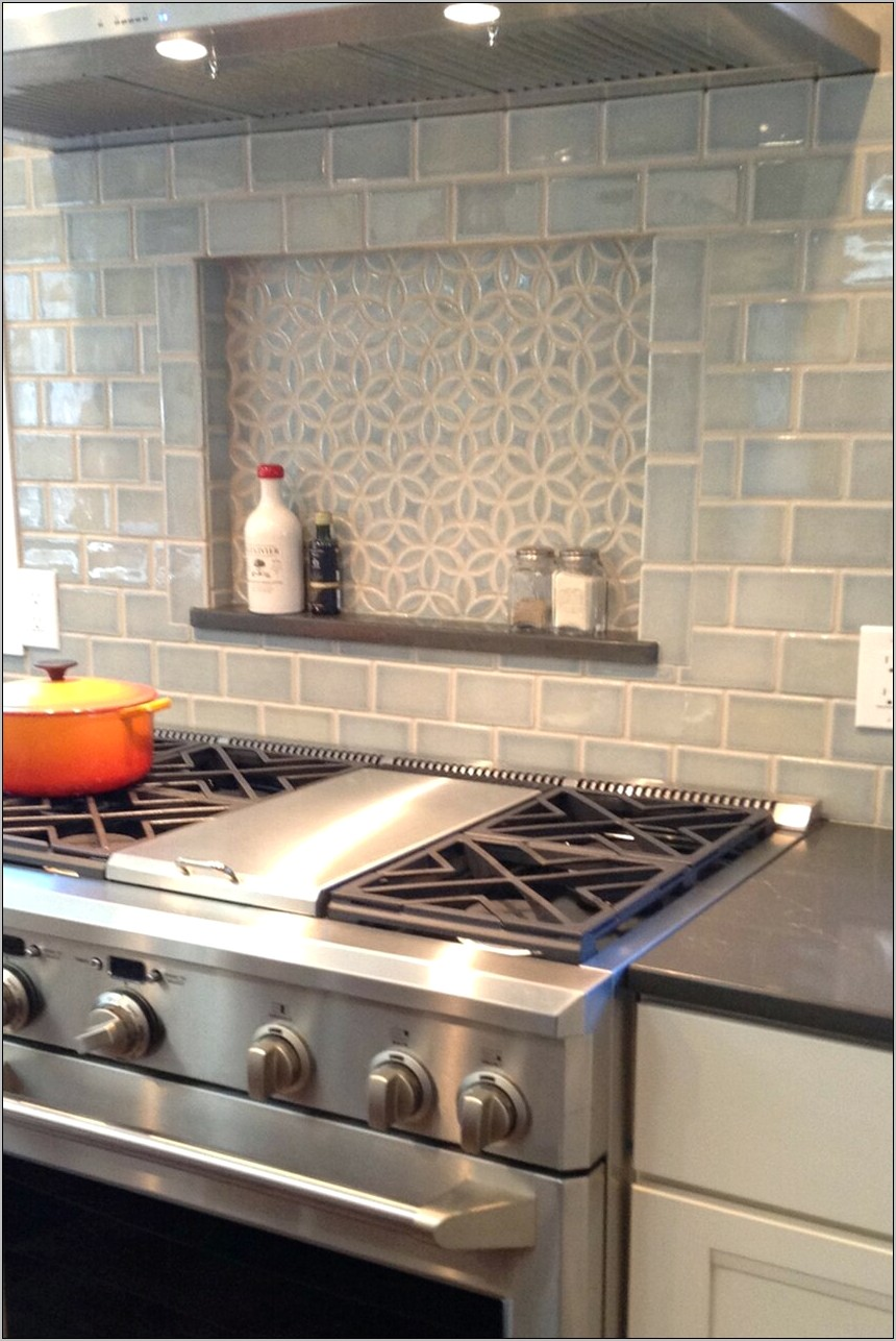 White Subway Tile Kitchen Decorative Above Stove