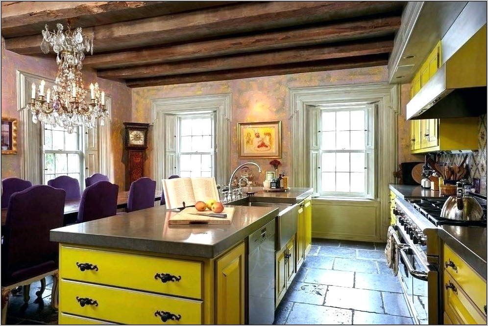 Yellow And Navy Kitchen Decor