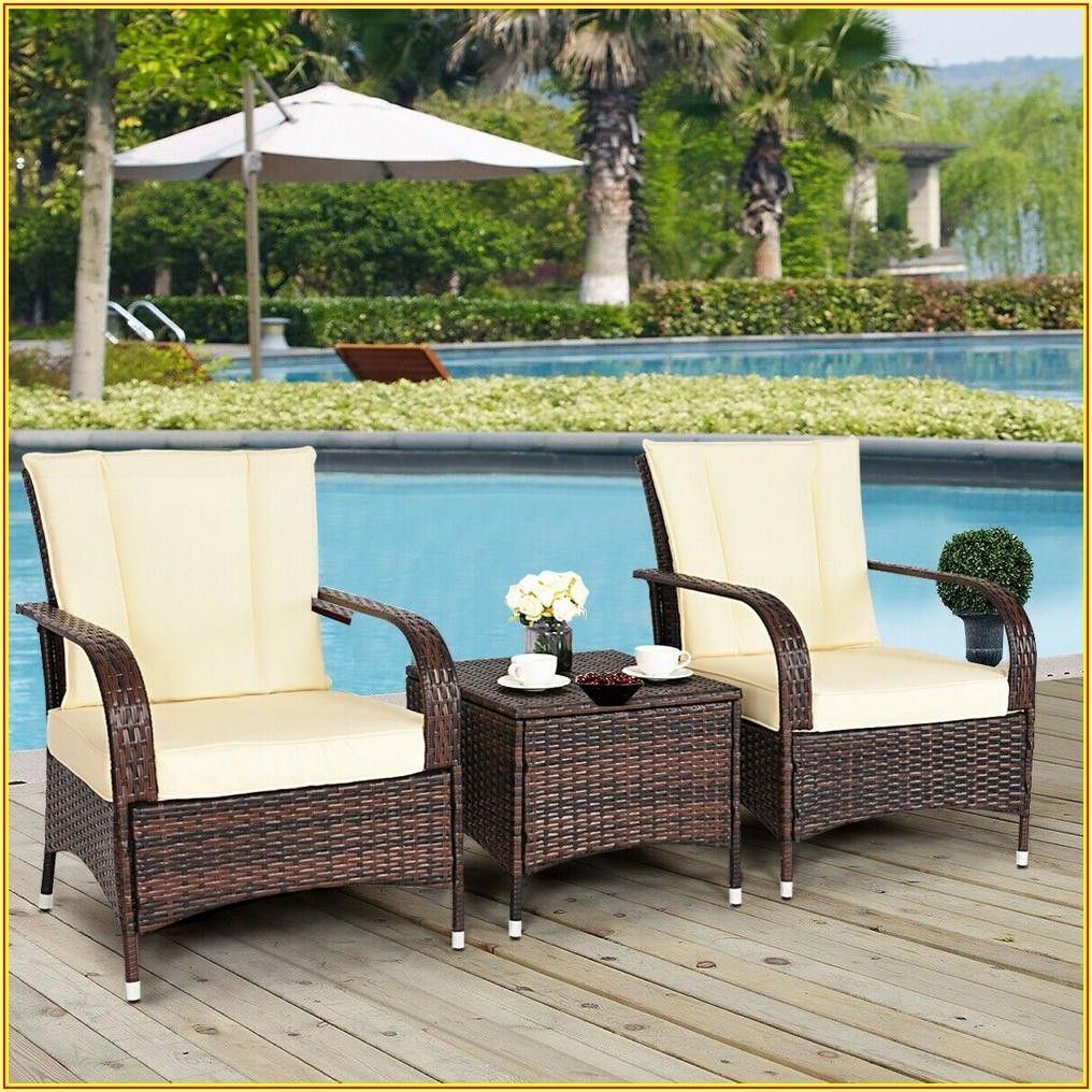 4 Piece Wicker Rattan Patio Conversation Set Chair With Beige Cushions
