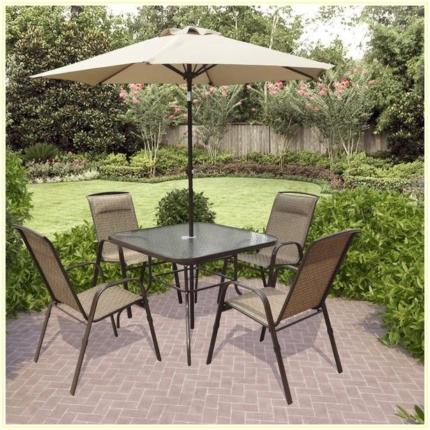 5 Piece Patio Dining Set With Umbrella