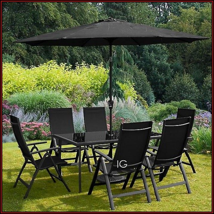 6 Seat Patio Dining Set With Umbrella