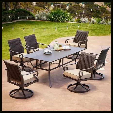 7 Piece Patio Set With Swivel Chairs