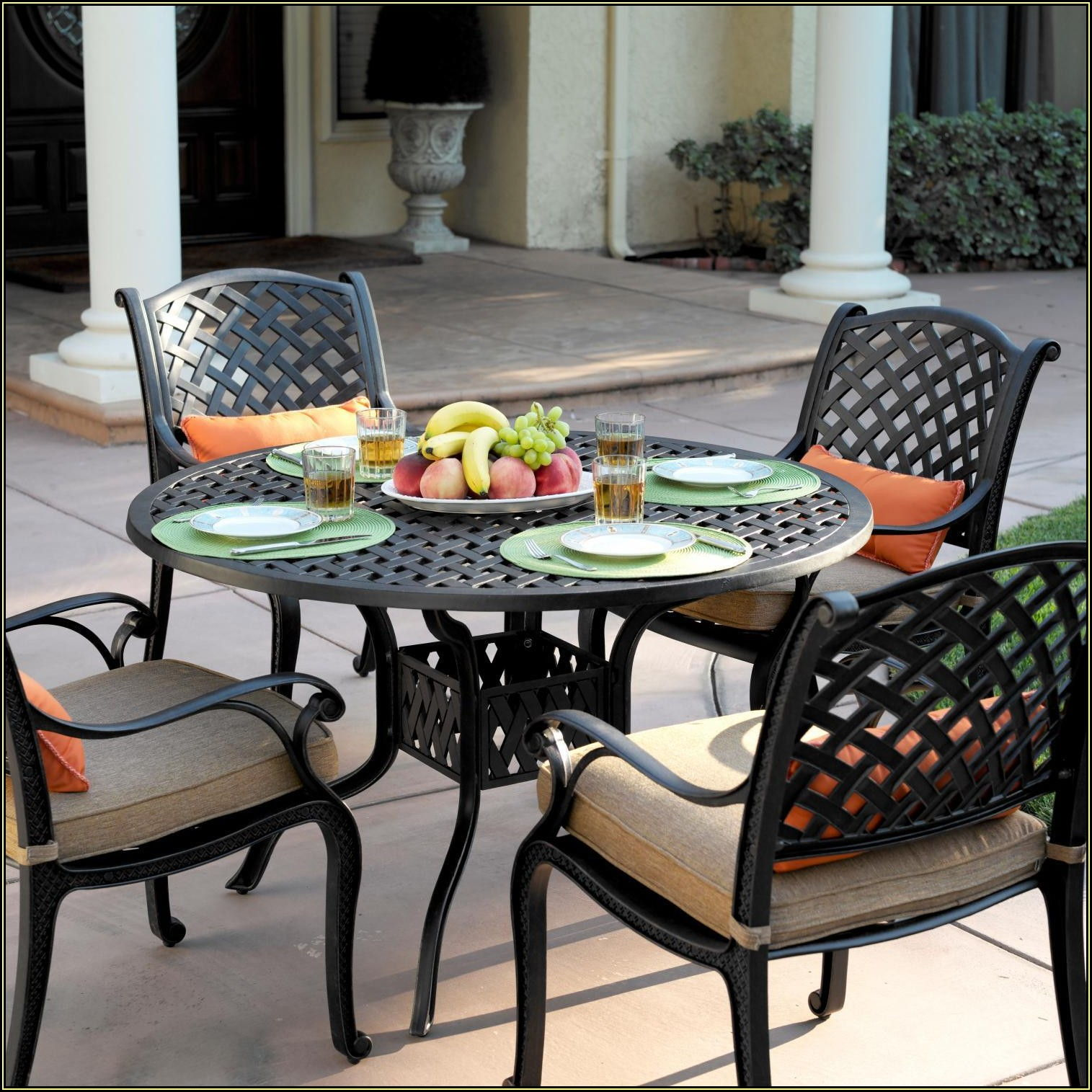 9 Piece Patio Dining Set With Fire Pit