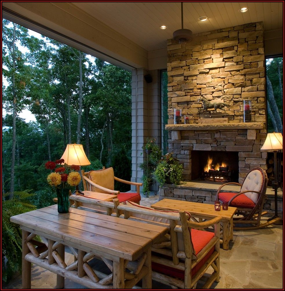 Attached Outdoor Covered Patio With Fireplace