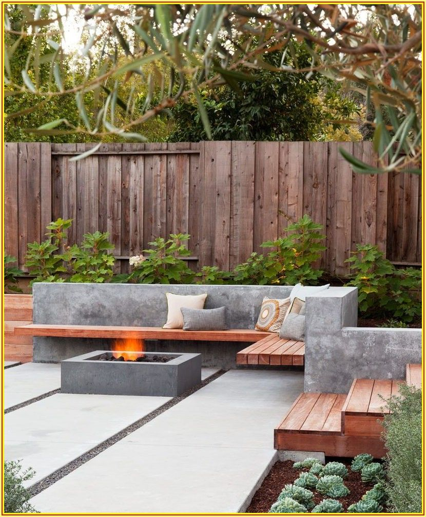 Backyard Simple Concrete Patio Design Ideas