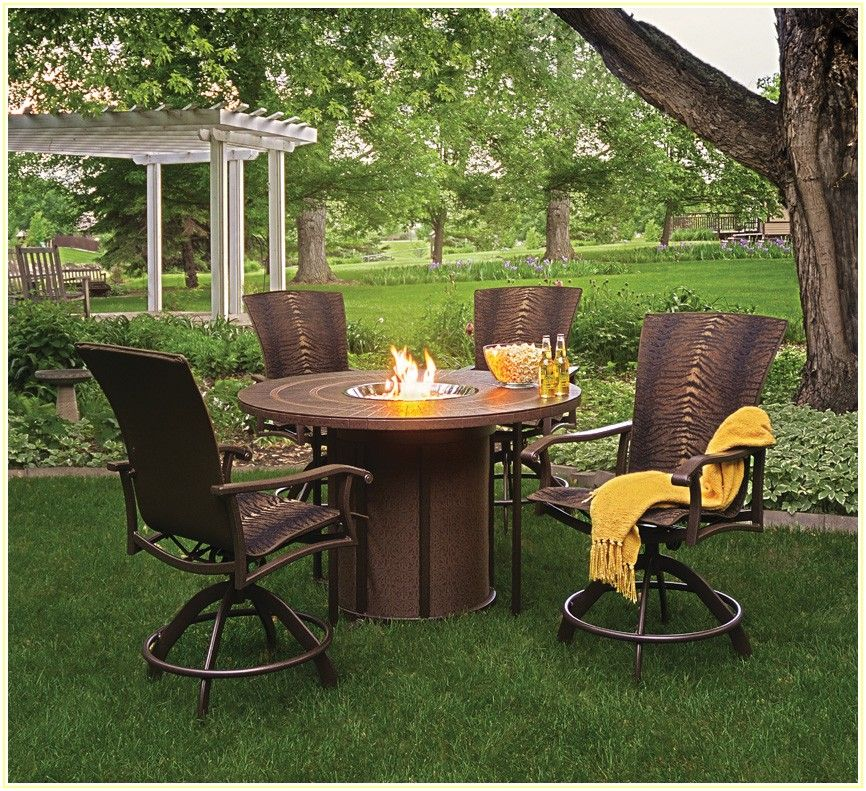 Bar Height Patio Table Set With Fire Pit
