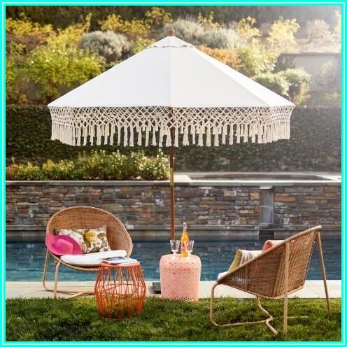 Boho Patio Umbrella With Fringe