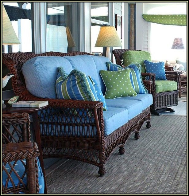 Brown Wicker Patio Furniture With Blue Cushions