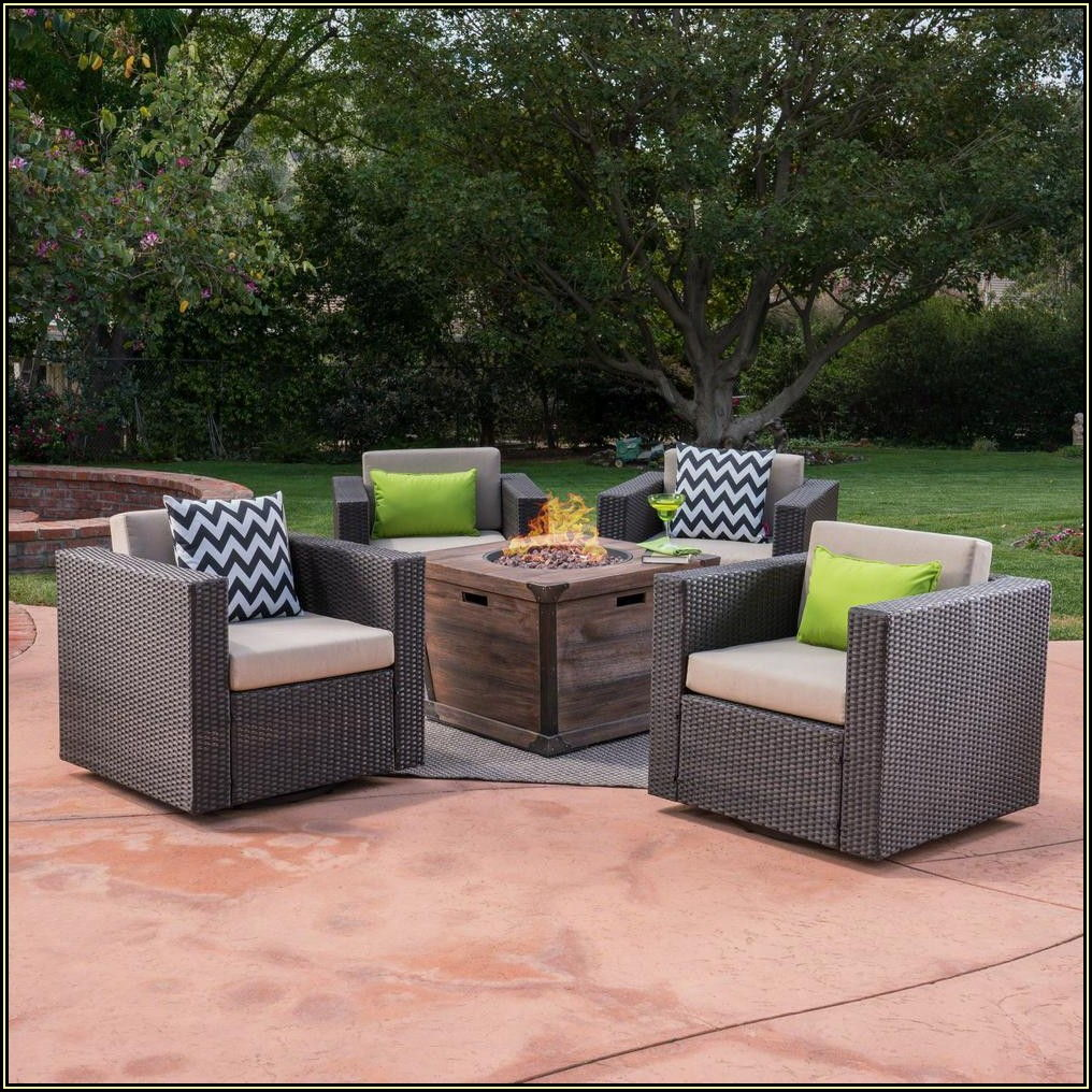 Brown Wicker Patio Furniture With Fire Pit