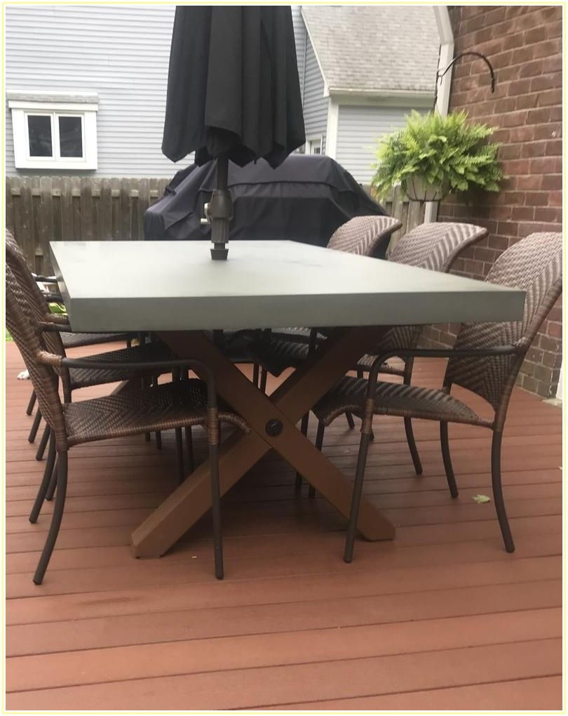 Concrete Patio Table With Umbrella Hole