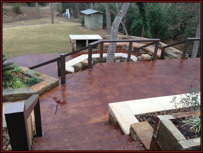 Concrete Patio With Wood Railing