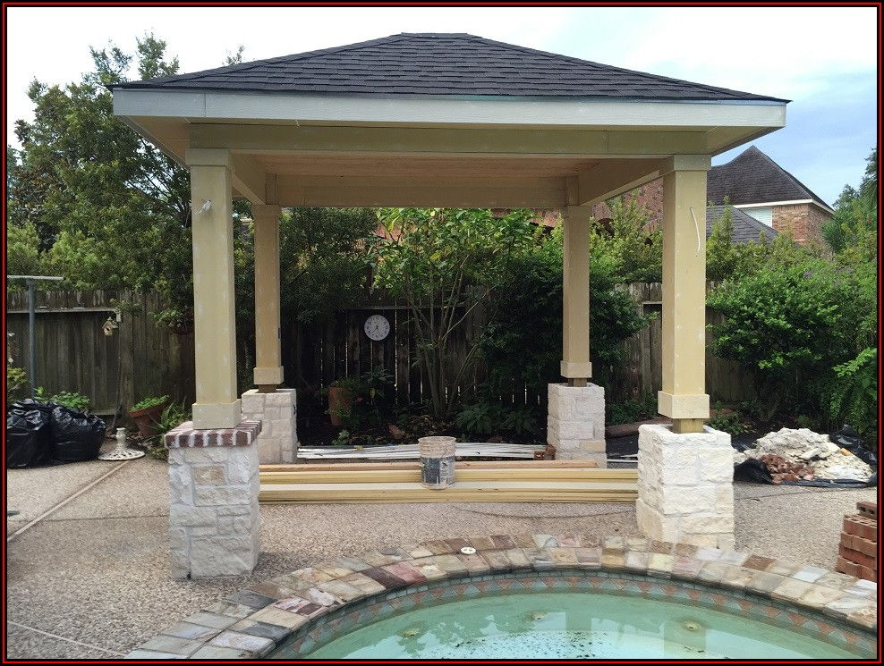 Detached Outdoor Covered Patio With Fireplace