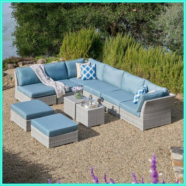 Gray Wicker Patio Furniture With Blue Cushions