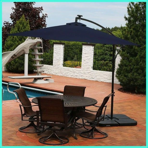 Navy Blue Patio Umbrella With Solar Lights