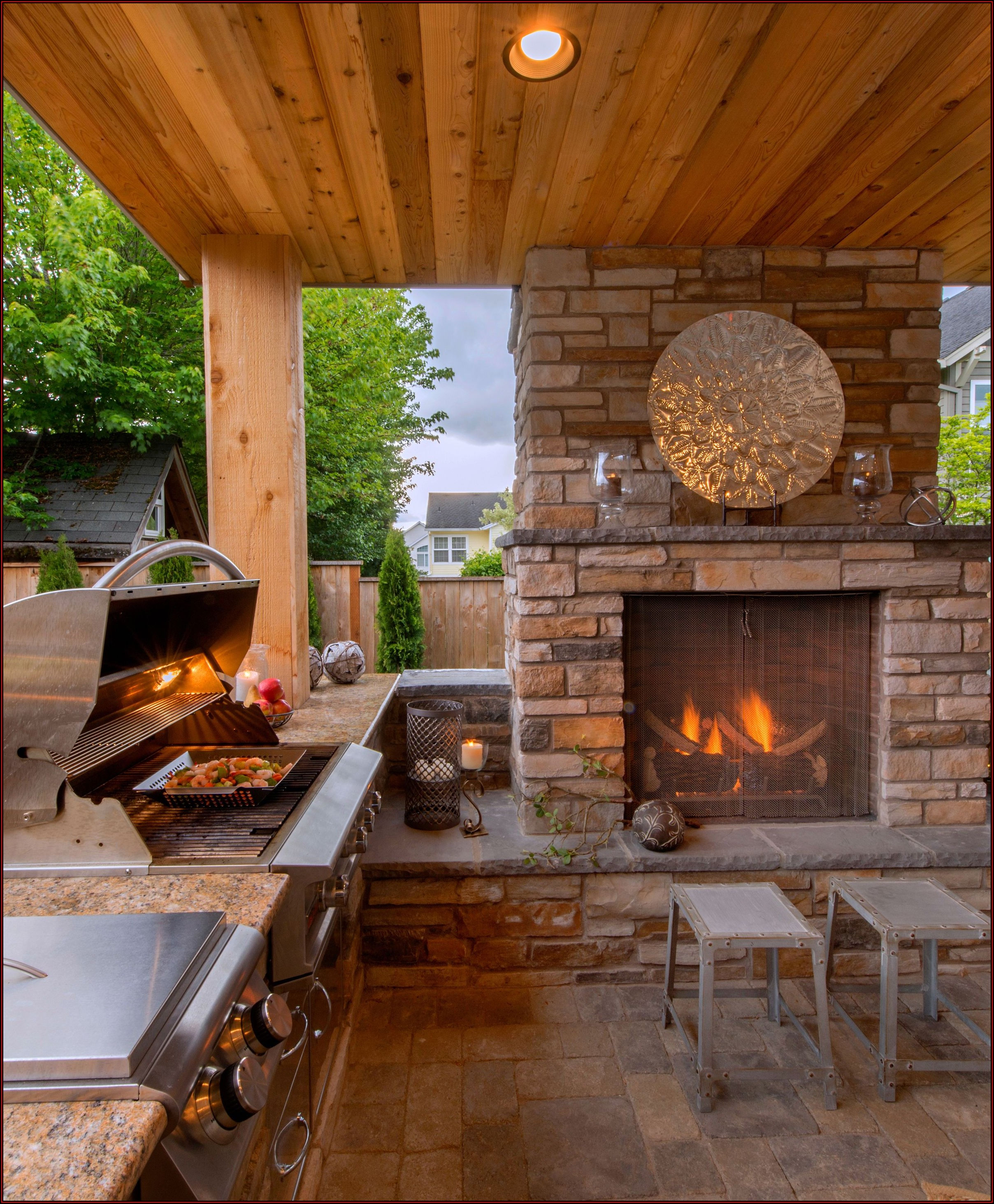 Outdoor Covered Patio With Fireplace And Kitchen