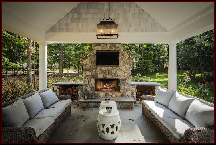 Outdoor Covered Patio With Stone Fireplace