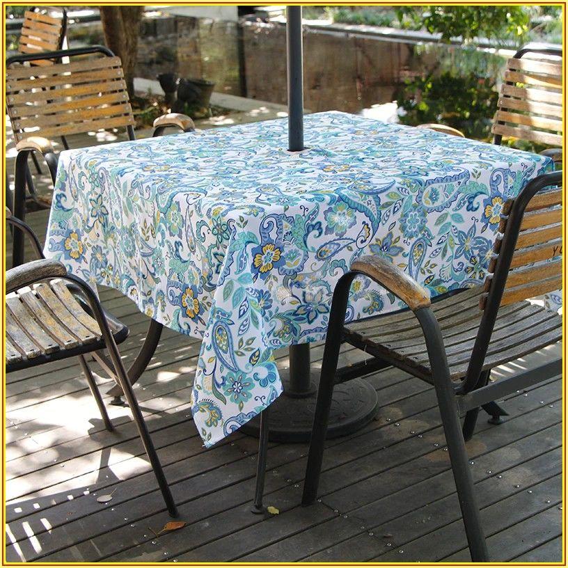 Patio Tablecloth With Umbrella Hole Zipper