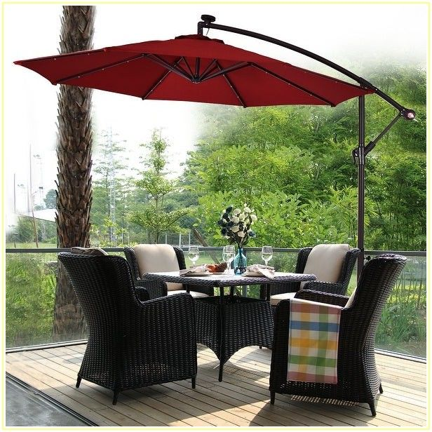 Patio Umbrella With Lights And Base