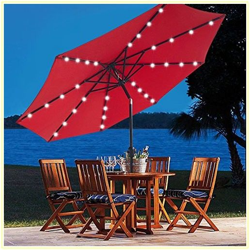 Patio Umbrella With Lights And Stand