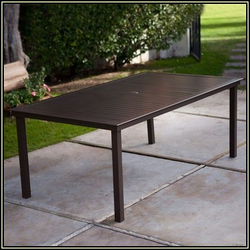 Rectangular Patio Dining Table With Umbrella Hole