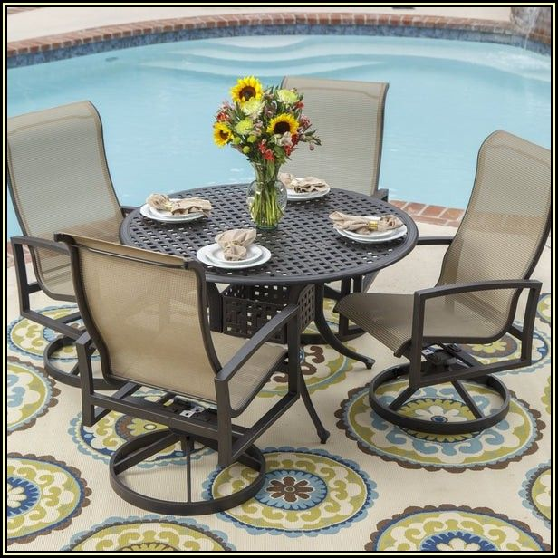 Round Cast Aluminum Patio Table Set